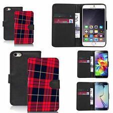 faux leather wallet case for many Mobile phones - red tartan