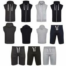 Mens US American Plain Sleeveless Gym Yoga Sports Gilet Hoodie Jacket Short Pant