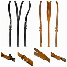 Women Men Black Leather Vintage Clip-On Suspenders Braces Y-shape Adjustable