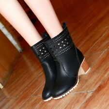Womens Synthetic Leather Hollow Med Block Heels Mid-Calf Boots Shoes Nice!!