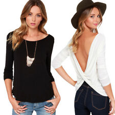 Women Autumn Long Sleeve Round Collar Sexy Backless Cross Fold T-shirt Tops