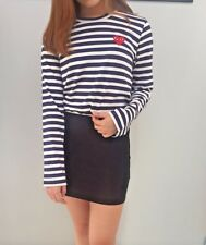 COMME DES GARCONS Play Striped T shirts tees Long Sleeve Navy Blue Red Heart M