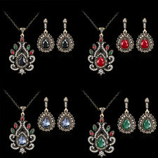 Women New Fashion Wedding Party Crystal Resin Necklace Earrings Jewelry Set 504
