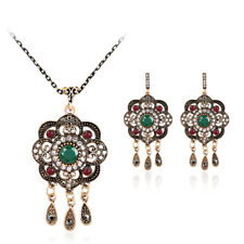 Women New Fashion Wedding Party Crystal Resin Necklace Earrings Jewelry Set 505