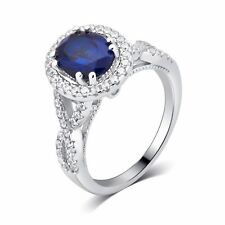 Sterling Silver Created Blue Sapphire and CZ Gift Occasion Ring by Unique Design