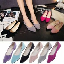Womens Ladies Summer Flats Loafers Slip On Single Shallow Ballet Boat Shoes