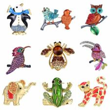 Fashion Christmas Bird Frog Cat Lovely Animal Crystal Brooch Pin Jewelry Gift