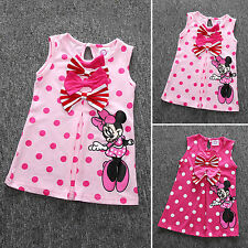 Toddler Girls Minnie Mouse Bowknot Kids Cotton Summer Party Dress 1-6Y Clothes