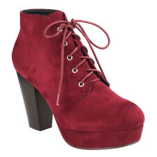 Chic Contemporary Women's Wine Lace Up Stacked Chunky Heel Platform Ankle Bootie