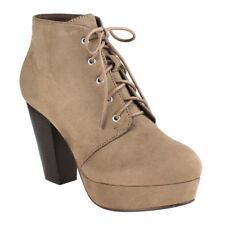 Chic Women's Taupe Lace Up Stacked Chunky Heel Platform Ankle Bootie