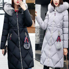 Women Fur Collar Hooded Coat Quilted Jacket Winter long Down Cotton Coatwear New