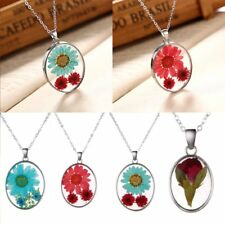 Glass Dried Flower Glow in the Dark Pendant Necklace Women Jewelry Party Gift