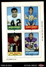 1969 Topps 4-in-1 Football Stamps Dick Hoak / Roman Gabriel / Dave Williams / EX