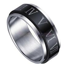 MagiDeal Black Silver Rotatable Roman Numerals Stainless Steel Engagement Ring