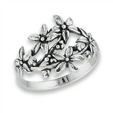 .925 Sterling Silver Flower Bouquet Ring Sizes 6-9