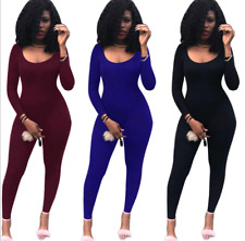 Hot Charming Sexy backless tight fitting long sleeved Jumpsuit dress Club