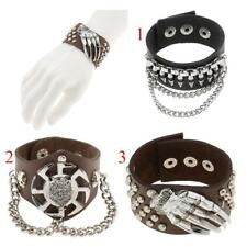 Punk Rock Gothic Cosplay Gripper Leather Bracelet Rivets Wolf Head Wristband