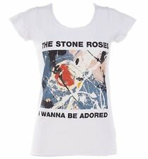 Official Women's White Stone Roses Wanna Be Adored T-Shirt from Amplified