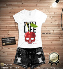 Unique Designer Cherry Skull Shirt Womens Fruit Lover Tshirt Cool Tank Top WD156