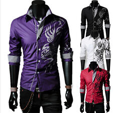 Fashion Mens Casual Stylish Slim Fit Long Sleeve Casual Formal Dress Shirts Tops