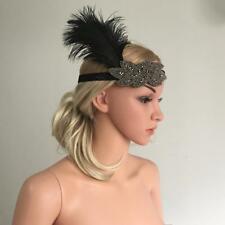 Lady Girls Feather Applique Bead Headband Headpiece Party Hair Accessories