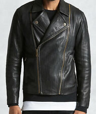 True Religion Men's Washed Lambskin Moto Leather Jacket, Black, Size L