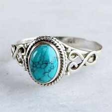 Vintage Women 925 Silver Ring Turquoise Wedding Engagement Jewelry Size 6-10