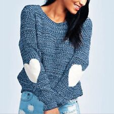 Cute Women's Winter Heart Pattern Elbow Patchwork Thin Knit Sweater Pullover