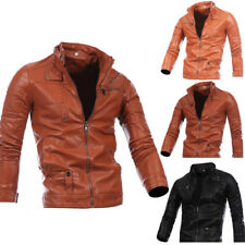 Mens Zip Up Faux Leather Casual Jacket Long Sleeve Coat Stand Collar Overcoat