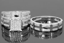 Diamond Wedding 14K White Gold Trio His And Her Bridal Band Engagement Ring Set