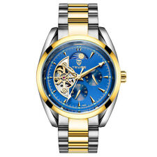 Mens TEVISE Automatic Mechanical Skeleton Watch Steel Skeleton Moon Phase