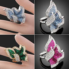 Fashion Womens Leaf Full Crystal Rhinestone Cocktail Party  Finger Ring Gift GT
