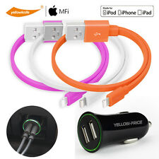 Apple iPhone iPad Mini Dual USB Car Charger+New IOS 10 Certified Lightning Cable