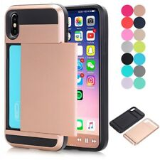 Hybrid Rubber Armor Shockproof Protective Card Holster Case Cover For iPhone X 8