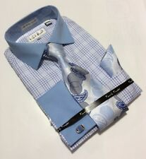 Men's Karl Knox Blue French Cuff Dress Shirt Necktie Hanky Cufflinks Set NEW!!