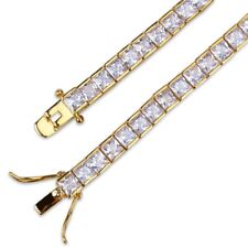 Cubic Zirconia Iced Out Tennis Bracelet 18K Gold Plated 6x6mm Square White CZ