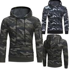 Mens Winter Camouflage Hoodie Hooded Coats Jacket Sweatshirt Jumper Tops Outwear