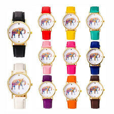 Women Casual Elephant Pattern Casual Leather Strap Alloy Case Quartz Wrist Watch