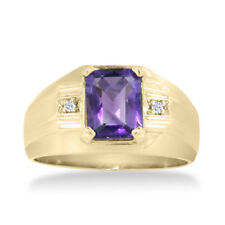 10K YELLOW GOLD 2 1/4CT EMERALD CUT AMETHYST AND  DIAMOND MEN'S RING