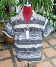 Handmade 1950's Style Vintage Mens Rockabilly Bowling Black & white shirt