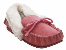 NEW LADIES WOMENS REAL SUEDE LEATHER MOCCASINS FUR LINED WARM COSY MOCC SLIPPERS