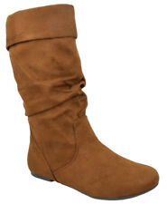 Soda Women Flat Slouchy Basic Boots Mid Calf Faux Slip on Brown Tan Suede IMAGES