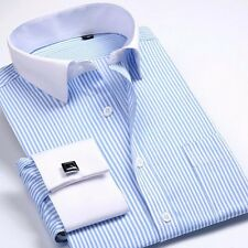 Fitted Mens Long-sleeved Non-iron Cufflinks Solid Business Dress Shirt 9 Colors
