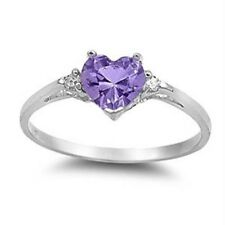 1.3CT Amethyst Love Heart Women 925 Silver Jewelry Engagement Ring Gift Sz 6-10