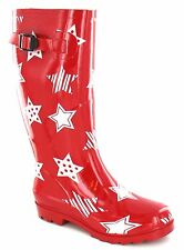 """Spot On X1044 Ladies Red Rubber Pull On Star Design 1"""" Block Heeled Wellies"""