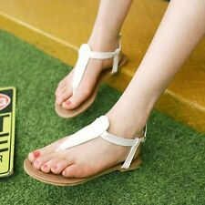 Thong Sandals Womens Synthetic Flat Heels Ankle Strap Flip-flops Shoes Nice!!