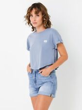 New Lee Womens Crop Scoop T Shirt In Lilac Tops & T Shirts Logo T Shirts
