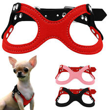 Soft Suede Leather Small Dog Puppy Harness for Chihuahua Yorkie 10-13.5'' Chest
