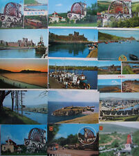 Postcards - ISLE OF MAN - LAXEY WHEEL - PEEL CASTLE - HARBOUR - (IOM2)