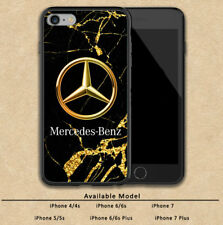 Mercedes Logo Gold Marble Print On Plastic Hard Case For iPhone SE 6 6s 7 (Plus)